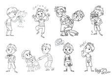 Comportamento difettoso Personaggio dei cartoni animati divertente Illustrazione di vettore illustrazione vettoriale