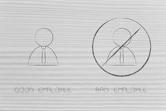 Comportamento do empregado bom contra o mau um com o negativo um barrado Foto de Stock Royalty Free