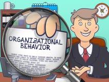 Comportamento organizzativo tramite la lente d'ingrandimento Progettazione di scarabocchio Fotografia Stock Libera da Diritti