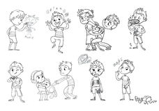 Comportamento ruim Personagem de banda desenhada engraçado Ilustração do vetor ilustração do vetor
