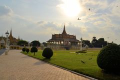 Composé de Royal Palace, Phnom Penh, Cambodge Image libre de droits