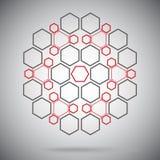 Composés ternaires sous forme de sphère rouge-grise illustration libre de droits