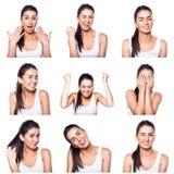 Composé des émotions et des gestes positifs avec la fille Image libre de droits