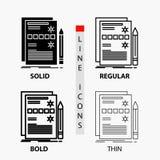 Composant, données, conception, matériel, icône de système dans la ligne et le style minces, réguliers, audacieux de Glyph Illust illustration stock