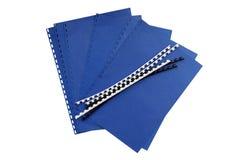 Composants de cahier - bleu Images stock