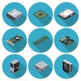Composants de l'ordinateur plats d'icônes illustration de vecteur