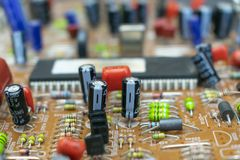 Composants par radio sur le panneau de TV, images libres de droits