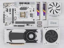 Composantsmatériels de PC sur le bois blanc rendu 3d Photos stock