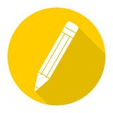 Compose icon, pencil with long shadow. Vector icon royalty free illustration