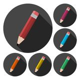 Compose icon, pencil set with long shadow. Icon vector illustration