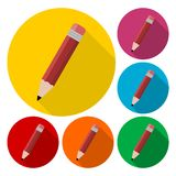 Compose icon, pencil set with long shadow. Icon royalty free illustration