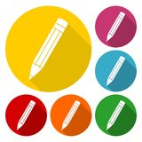 Compose icon, pencil set with long shadow. Simple vector icon vector illustration