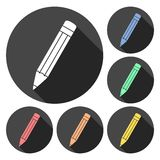 Compose icon, pencil set with long shadow. Vector icon stock illustration