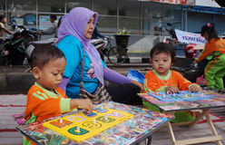 Compose letter. Kindergarten students learn to compose letters in the city of Solo, Central Java, Indonesia stock photo