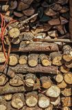 Composed of logs for winter. Cold season at sunny day stock photos