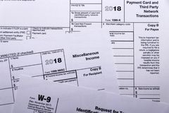 Shot of IRS tax forms 1099-M, 1099-K and W-9. Composed shot of IRS tax forms 1099-MISC, 1099-K and W-9 royalty free stock images