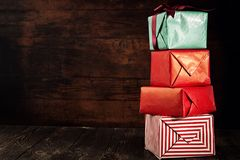Composed stack of presents stock image