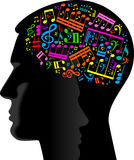 Composer. Man wrote the music.head of the person with the notes Stock Photography