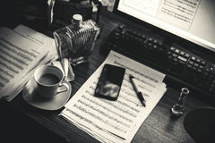 Composer`s Working Place Stock Photos