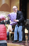 Composer zhengchaoying accepting flowers Royalty Free Stock Photography