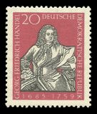 Composers and musicians, Georg Friedrich Handel. GDR - stamp printed 1959, Memorable multicolor edition offset printing, Topic Famous Personalities, Series Royalty Free Stock Images