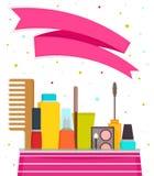 Composez et les produits cosmétiques Illustration de vecteur avec un espace des textes Photographie stock libre de droits