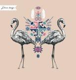 Composição étnica do estilo com flamingo Vetor desenhado mão Fotos de Stock