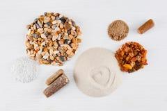 Composição abstrata da areia, do seixo e das pedras Fotos de Stock Royalty Free