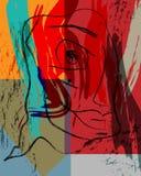 Composição abstrata do fundo com cursos da pintura, parte da cara e figuras geométricas ilustração do vetor