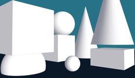 Composição abstrata geométrica: formas 3D simples no espaço Fotos de Stock Royalty Free