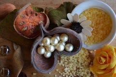 Composição abstrata, pérolas, fotografia das flores fotografia de stock royalty free