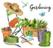 Composição adiantada bonita das flores do jardim da mola, relaxando no jardim após o trabalho ilustração stock