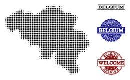 Composição bem-vinda do mapa de intervalo mínimo de selos de Bélgica e de Grunge ilustração stock