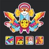 Composição bonita com o anjo e os ícones Imagens de Stock