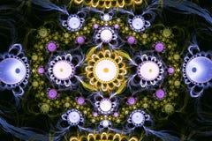 Composição colorida abstrata do fractal Estrela mágica da explosão com partículas Ilustração do movimento Fundo bonito Foto de Stock Royalty Free