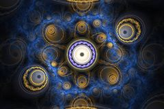 Composição colorida abstrata do fractal Estrela mágica da explosão com partículas Ilustração do movimento Fundo bonito Imagem de Stock