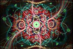 Composição colorida abstrata do fractal Estrela mágica da explosão com partículas Ilustração do movimento Fundo bonito Imagens de Stock