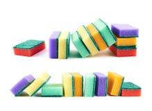 Composição colorida da esponja da cozinha Foto de Stock Royalty Free