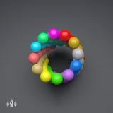 composição colorida das esferas 3d Molde do vetor Estilo da tecnologia Fotos de Stock