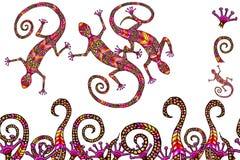 A composição colorida do lagarto com escova sem emenda, elementos do lagarto s vector a ilustração para o projeto ilustração stock
