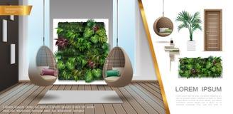 Composição colorida interior da casa realística ilustração royalty free