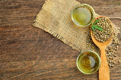 Composição com óleo e sementes de cânhamo Fotografia de Stock Royalty Free
