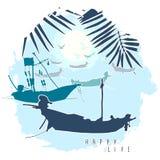 Composição com as silhuetas dos barcos, das folhas de palmeira e das gaivotas do voo na perspectiva do céu da noite Fotografia de Stock Royalty Free
