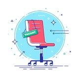Composição com cadeira do escritório e um sinal vago Conceito de aluguer e de recrutamento do negócio linhas finas Ilustração do  Foto de Stock