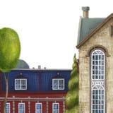 Composição com casas e janelas Arquitetura inglesa velha Tijolo vermelho Ilustra??o cidade ilustração royalty free
