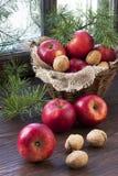 Composição com maçãs vermelhas Fotos de Stock