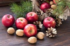 Composição com maçãs vermelhas Fotografia de Stock
