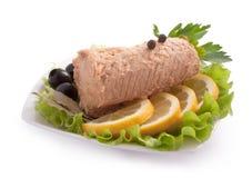 Composição com bife Salmon cor-de-rosa enlatado Foto de Stock Royalty Free
