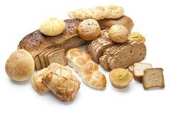 Composição com o pão e os rolos isolados no branco Fotos de Stock Royalty Free