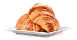 Composição com os croissant no branco foto de stock royalty free